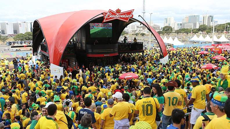 Brazil fans watch the FIFA World Cup at a Budweisser sponsored event alcohol sponsorship sport