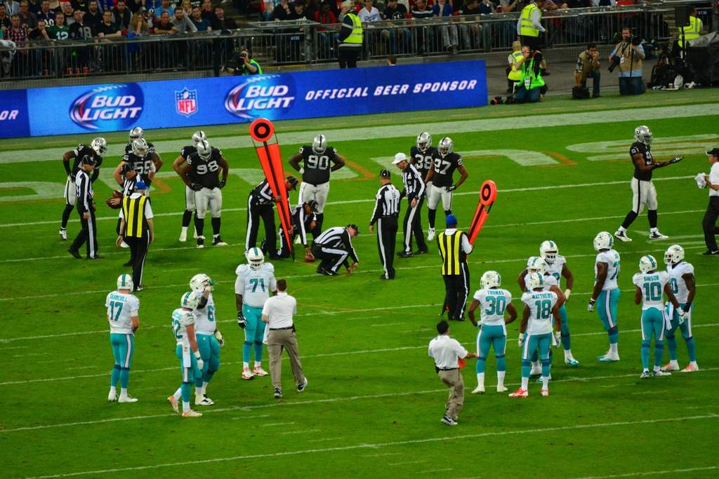 Bud Light advertising seen on the side of an NFL pitch alcohol sponsorship in sport