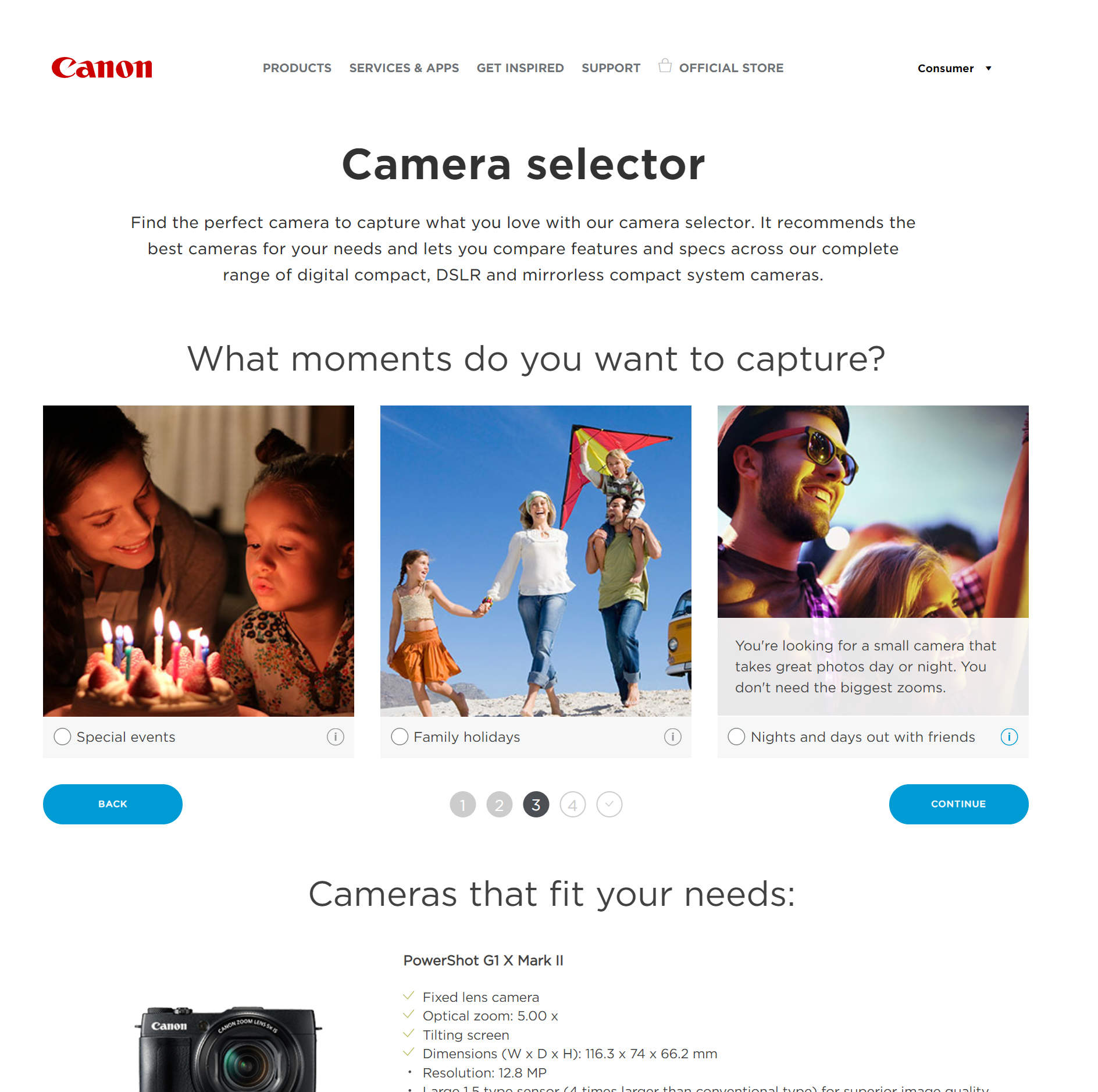 Smart Assistant AI is used by Canon to advise customers on which camera to buy