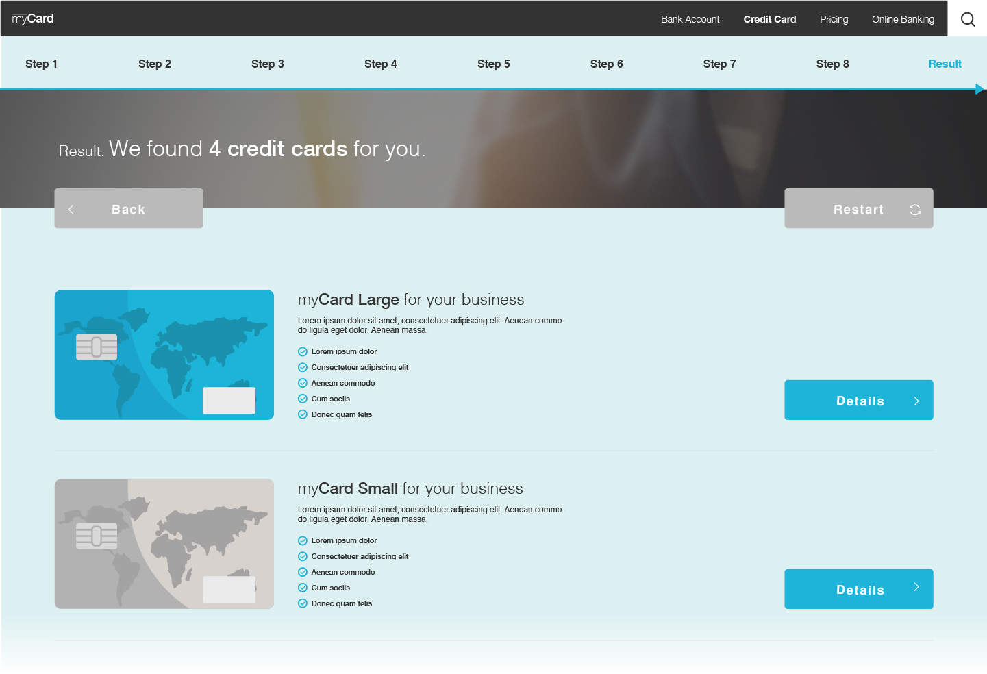 Smart Assistant provides recommendations for the best credit card