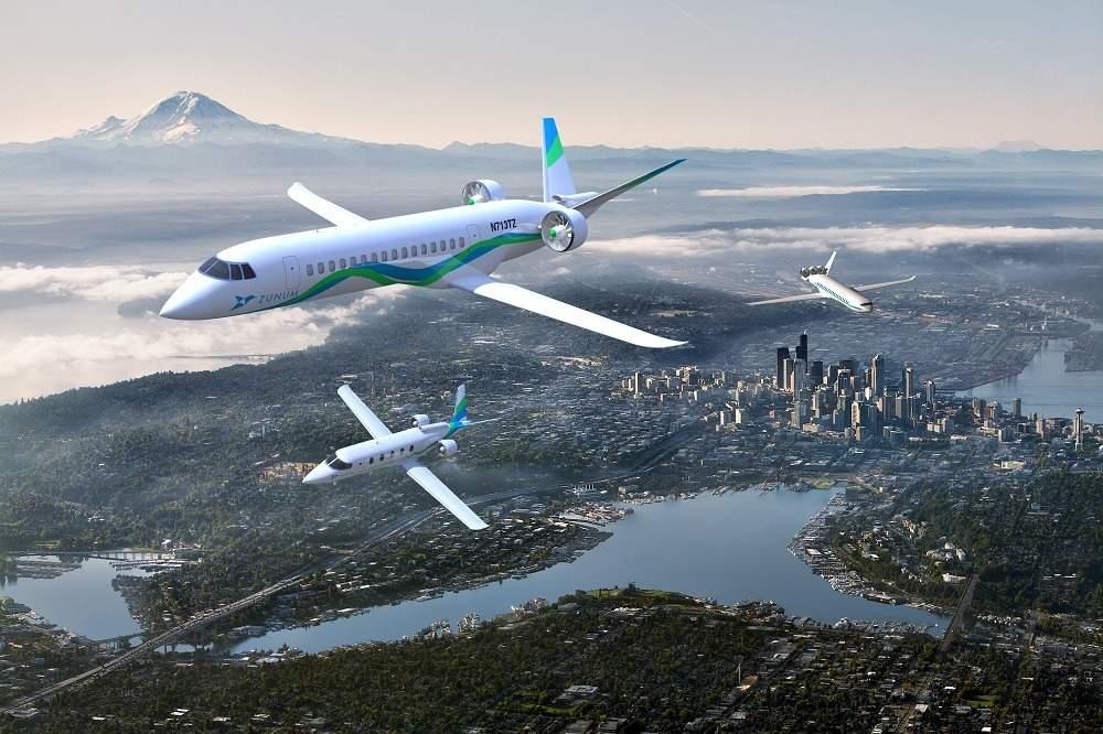 Designs of the Zunum Aero electric planes flying over Seattle (Credit: Zunum Aero)