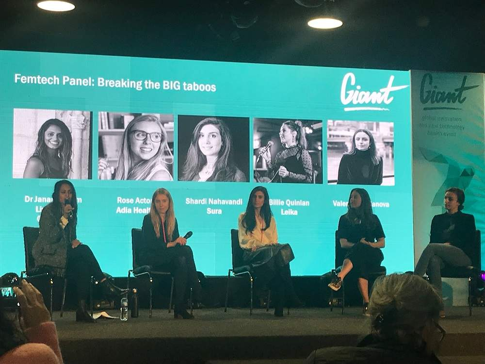 Femtech panel speaking at Giant Health, pictured from left to right: Dr Janani Param, Rose Acton, Shardi Nahavandi, Billie Quinlan and Valentina Milanova