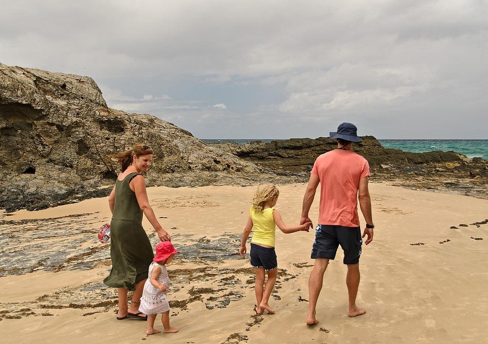 Seaside family, bank holiday economy